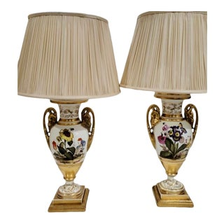 Antique Old Paris Porcelain Urn Form Lamps - a Pair For Sale
