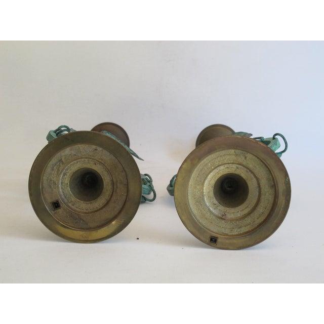 Verdigris Leaf Candleholders - Pair - Image 6 of 6