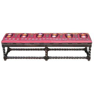 Twisted Suzani Upholstered Bench