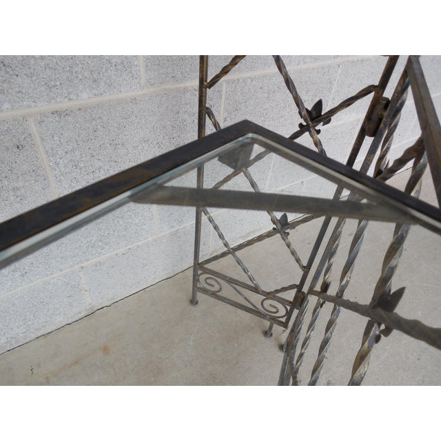 "Glass Designer French Style Heavy Wrought Iron Glass Top Console 35""w X 12""d For Sale - Image 7 of 13"
