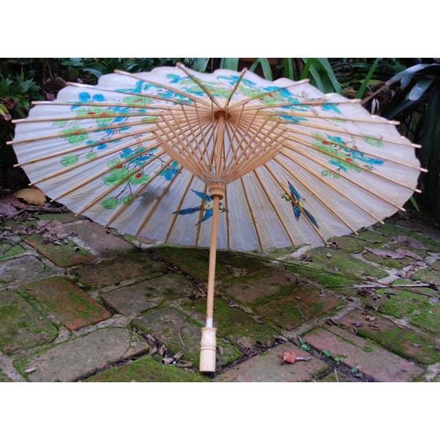 Vintage Asian Rice Paper Umbrella - Image 5 of 8