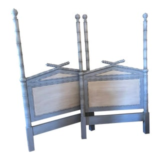 Twin Faux Bamboo Headboards - Pair For Sale