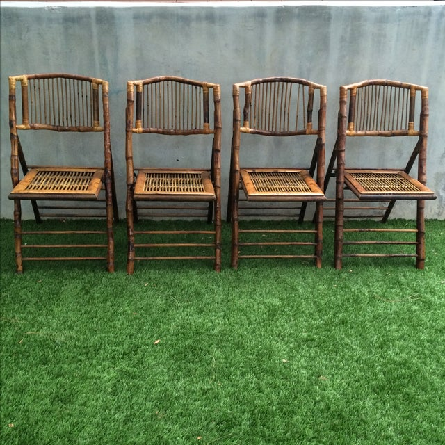 Bamboo Folding Chairs - Set of 4 - Image 2 of 11