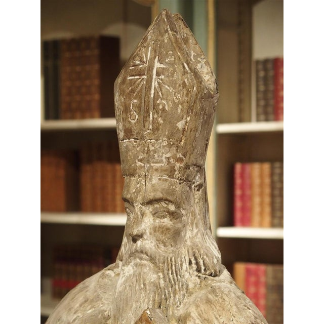 Early 1800s Partially Stripped French Wood Statue of St Martin De Tours For Sale - Image 10 of 13