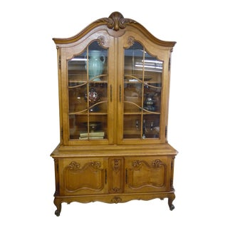 French Solid Oak 2 Piece China Cabinet For Sale