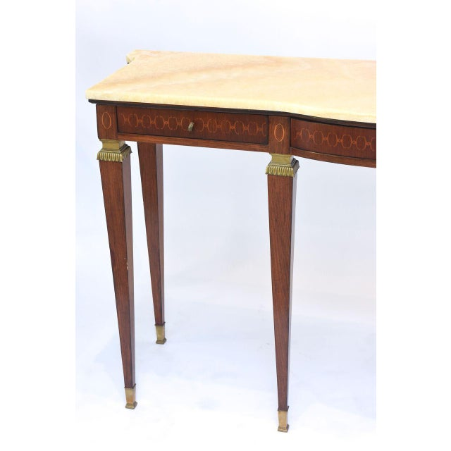 1950s Pair of Italian Modern Walnut and Fruitwood Marquetry Inlaid Onyx Top Consoles For Sale - Image 5 of 9