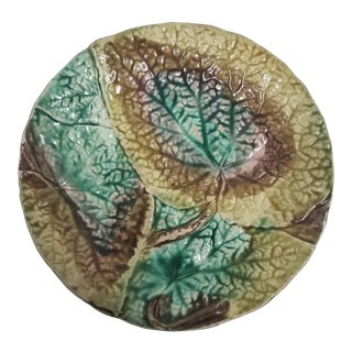 Antique English Majolica Plate For Sale