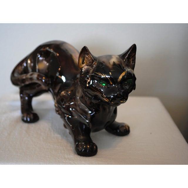 "Mid-Century Modern Vintage 'Golden Bronze"" Ceramic Crouching Cat Figurine For Sale - Image 3 of 8"