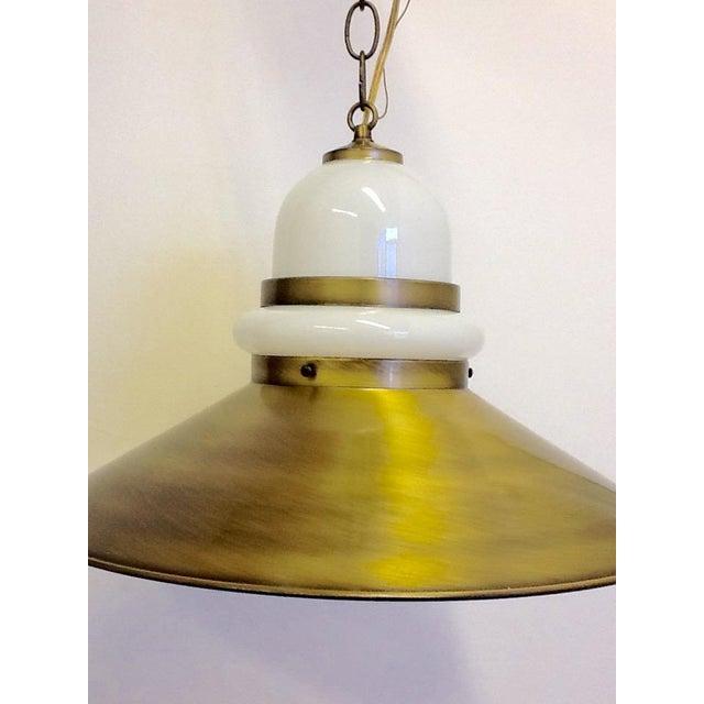 Mid Century Milkglass & Brass Pendant Lamp - Image 3 of 7