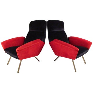 Italian Modern Sculptural Lounge Chairs - A Pair