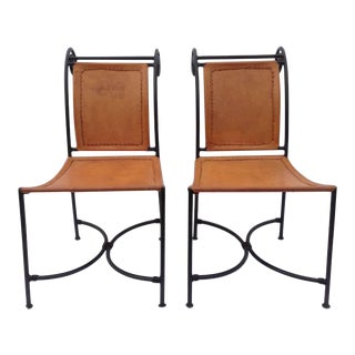 1950s Vintage Leather Chairs- A Pair For Sale