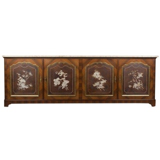 Maison Jansen French Travertine Top Enfilade / Sideboard For Sale