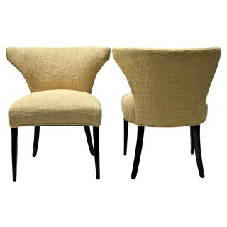 Vintage 1950s Gold Barrel-Back Chairs - A Pair For Sale