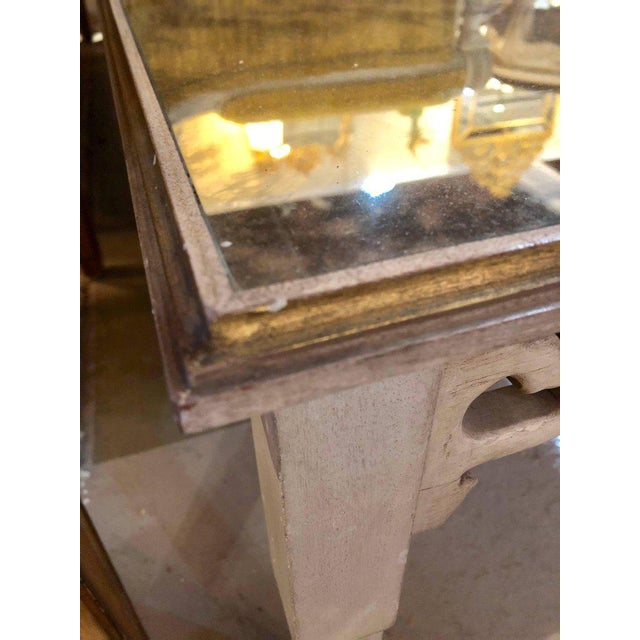 Distressed Mirror Glass Top Squared Asian Style End Tables Stamped Jansen, Pair For Sale - Image 11 of 13