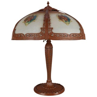 Antique Arts & Crafts Pittsburgh School Reverse Floral Painted Table Lamp