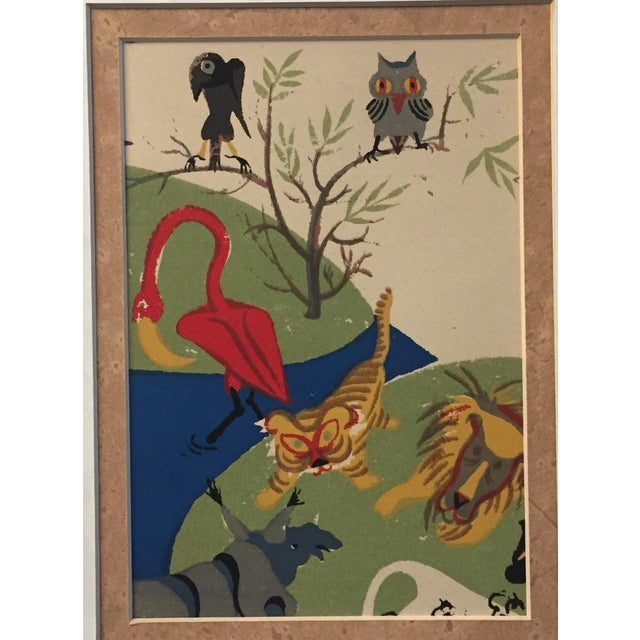 Original small 5 x 7 Animal Lithograph Unsigned overall size with mat & frame is 15.5 x 17.5