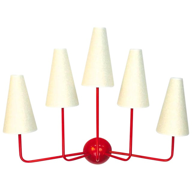 Large Five-Arm Red Wall Lamp in the Style of Jean Royère For Sale
