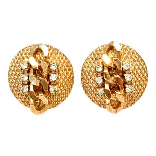 1950's Vintage Jewels by Julio Gold Braid & Swarovski Crystal Earrings For Sale