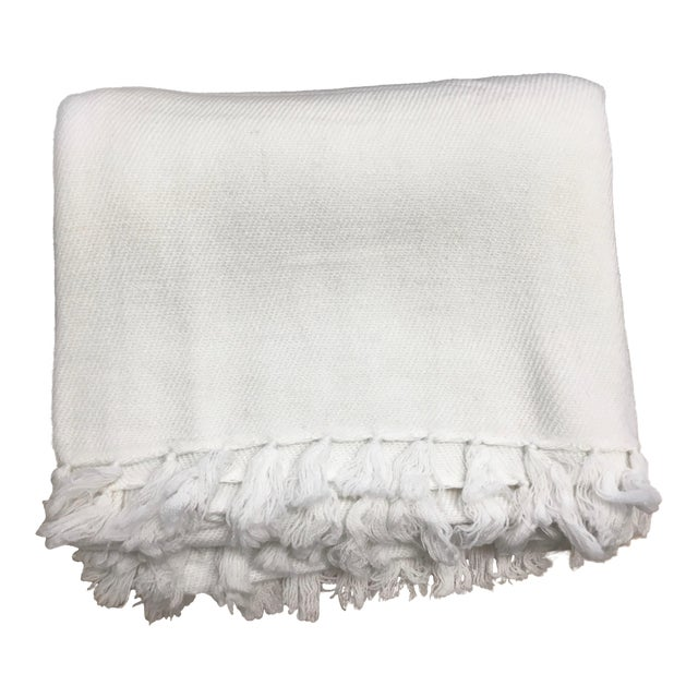 White Cashmere Blanket With Tassels - Image 1 of 11