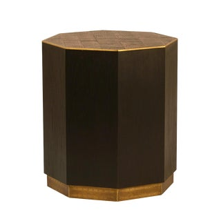 Dark Oak & Brass Octagon Side Table For Sale