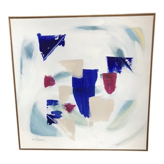 Canvas in Shades of Blue, Bright Pink & Taupe Painting