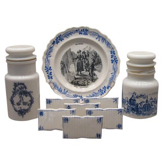 French Blue & White Transferware Collection - Set of 9 For Sale
