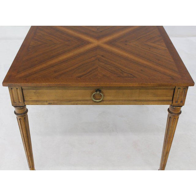 Fruitwood 1960s Mid-Century Modern Baker Square Satinwood Side Lamp Table For Sale - Image 7 of 11