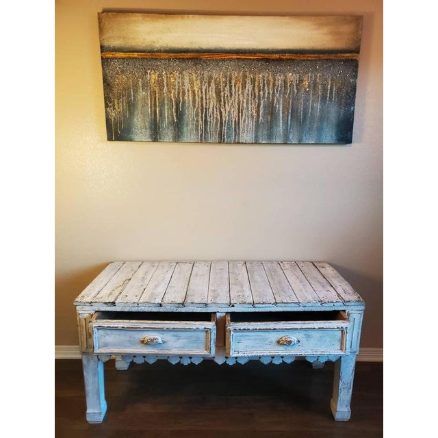 Antique Distressed Painted Plank Top Console Table For Sale - Image 4 of 11
