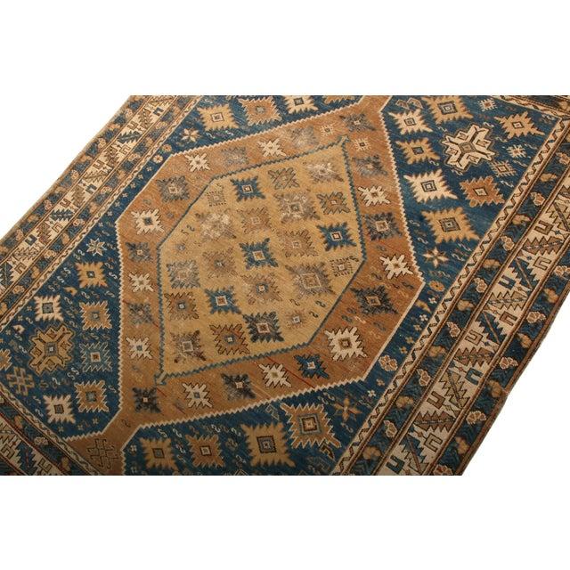 Tribal Antique Kuba Rug Beige Brown Blue Medallion Style Pattern For Sale - Image 3 of 6