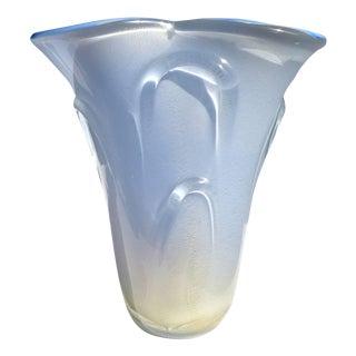 Vintage Mid Century Dino Martens Aureliano Toso Murano Blue Gold Italian Glass Vase For Sale