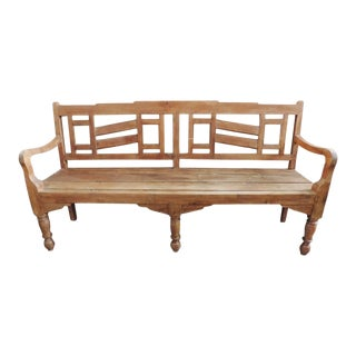 Colonial/Deco Teak Bench For Sale