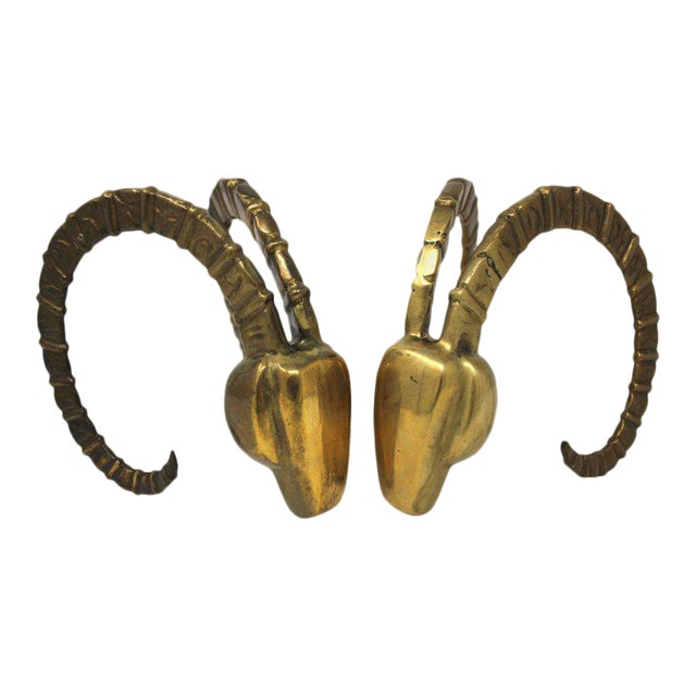 Arthur Court Style Brass Ram's Head Bookends - A Pair For Sale