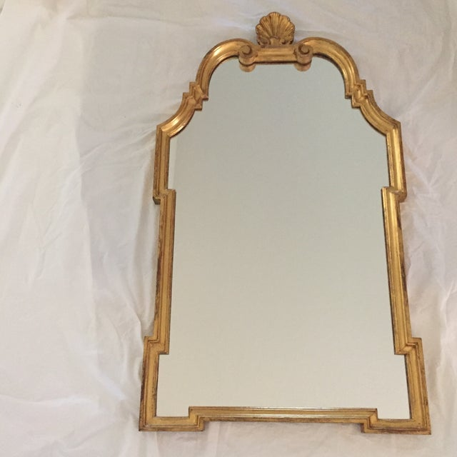 Vintage 1960s Hollywood Regency Mid Century Modern Gilded Mirror W/ Scrolls and Shell Crest, Marked Italy For Sale - Image 13 of 13
