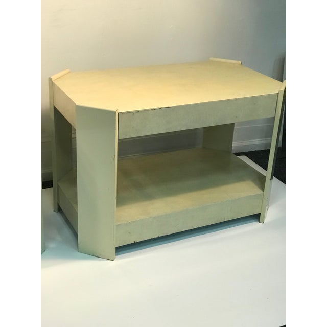 Modern Modern Cream Lacquered Faux Goat Skin Night Stands - a Pair For Sale - Image 3 of 7