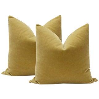 """22"""" Camel Mohair Velvet Pillows - A Pair"""