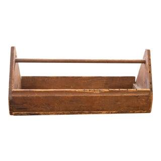 Primitive Large Vintage Wooden Toolbox For Sale
