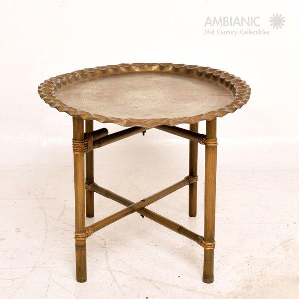 Anglo Indian Coffee Table Brass & Bamboo For Sale - Image 4 of 4