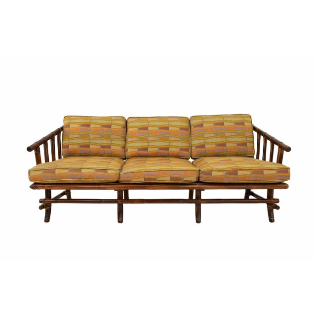 John Wisner for Ficks Reed Style Bamboo Mid Century 3-Seater Sofa Sofa measures: 66 wide x 32 deep x 27 high When you...