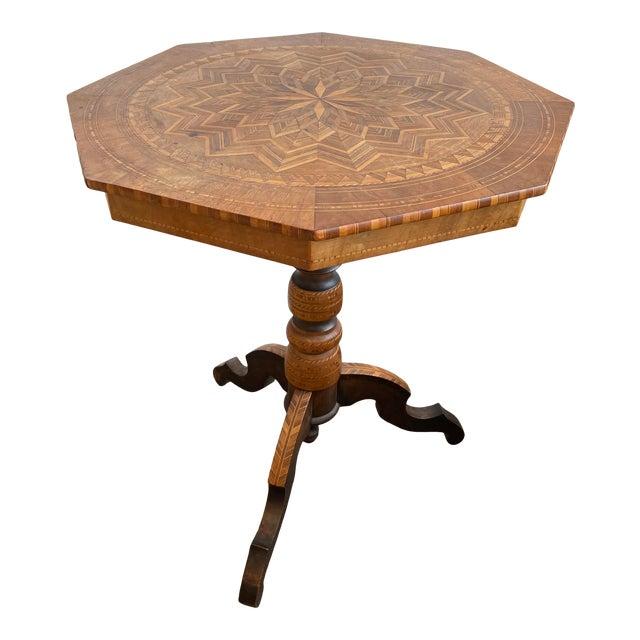 Antique Louis XV Parquet Octagonal Side Table For Sale