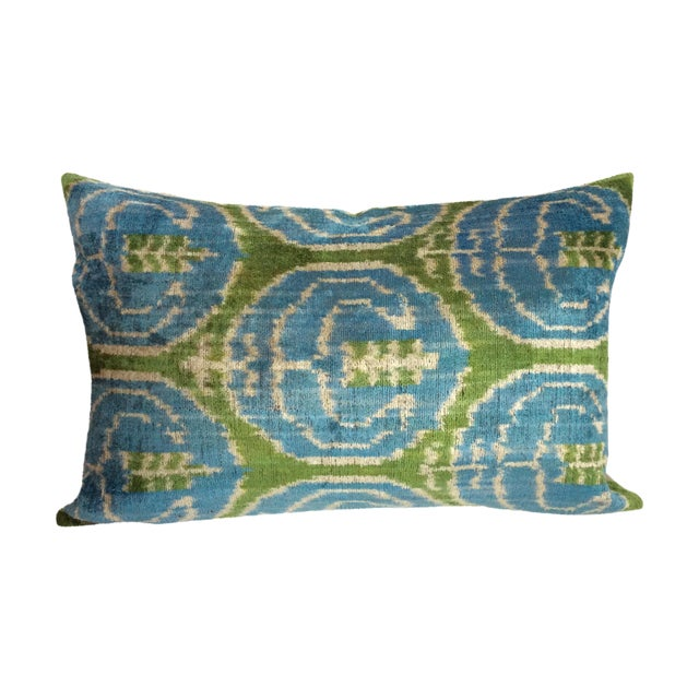 Blue And Green Silk And Velvet Ikat Pillow - Image 1 of 5