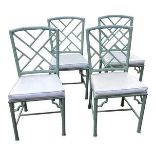 1970s Vintage Meadowcraft Faux Bamboo Aluminum Chairs - Set of 4 For Sale