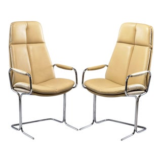 Tim Bates for Pieff England Leather Arm Chairs or Office Chairs - Pair For Sale