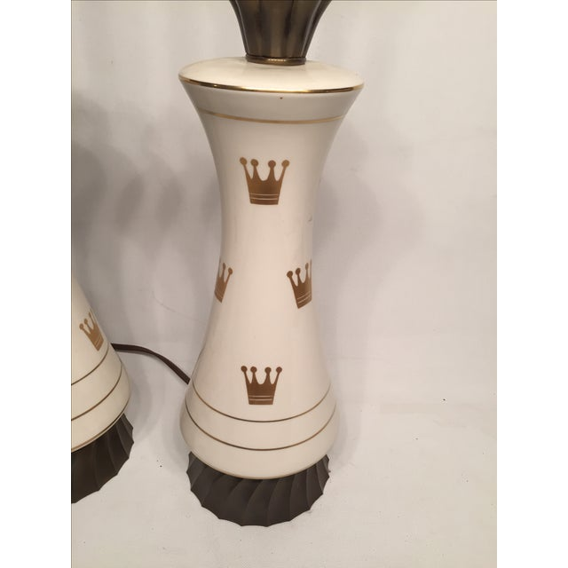 Porcelain & Glass Crown Lamps - Pair - Image 2 of 5