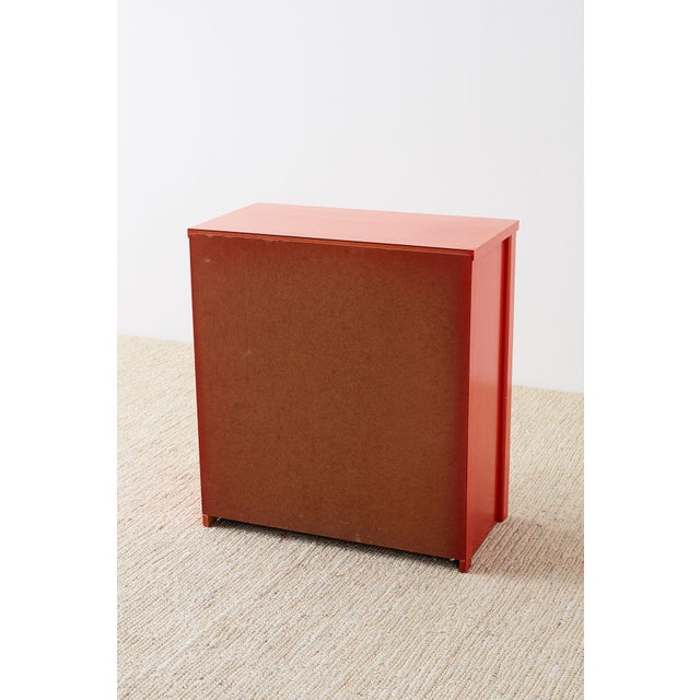 Dorothy Draper Style Coral Red Commode or Chest For Sale - Image 12 of 13