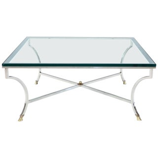Square Chrome and Brass Hoof Feet Base Coffee Table Thick Glass Top For Sale