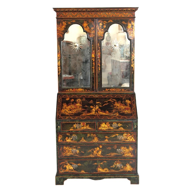 English Chinoiserie Secretary With Mirrored Doors For Sale