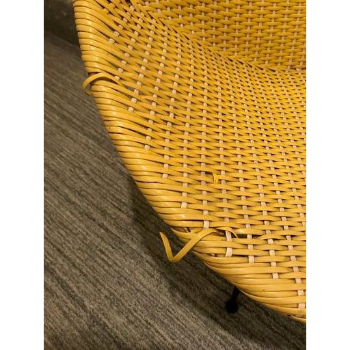 Vintage Mid-Century Atomic Vinyl Yellow Basket Chair For Sale - Image 11 of 13