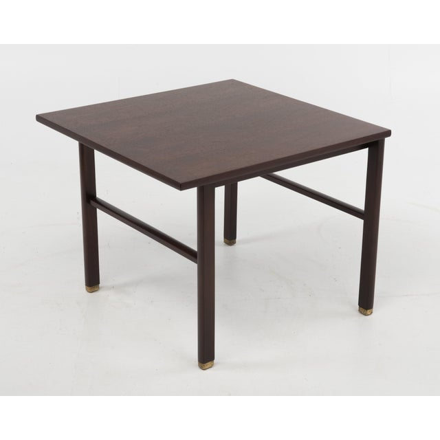 Cantilevered Edward Wormley Dunbar Square Side End Table 1960s Walnut Brass Tag For Sale - Image 10 of 10