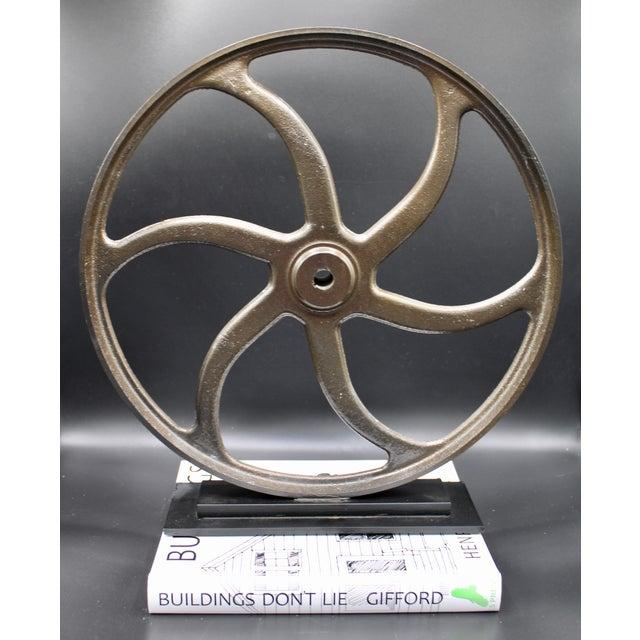 Industrial Vintage Lathe Wheel on Custom Mount For Sale - Image 3 of 10