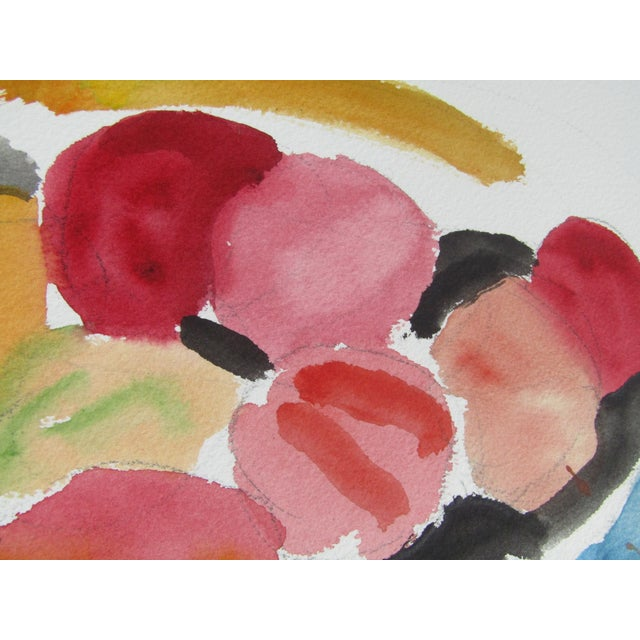 "George Daniell ""Flowers & Fruit"" Still Life Watercolor - Image 5 of 5"